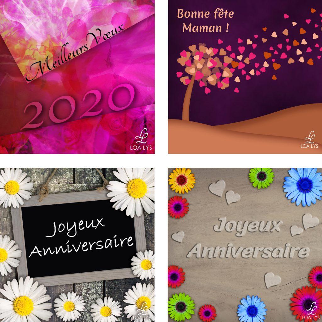 4 cartes d'anniversaire et de fêtes