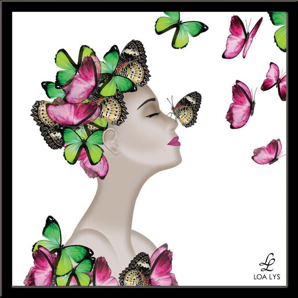 Femme avec des papillons