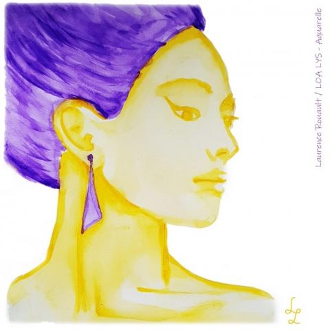 visage femme aquarelle