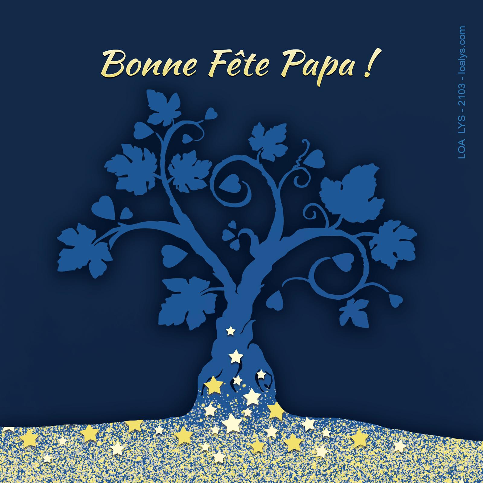 Carte bonne fête papa arbre bleu