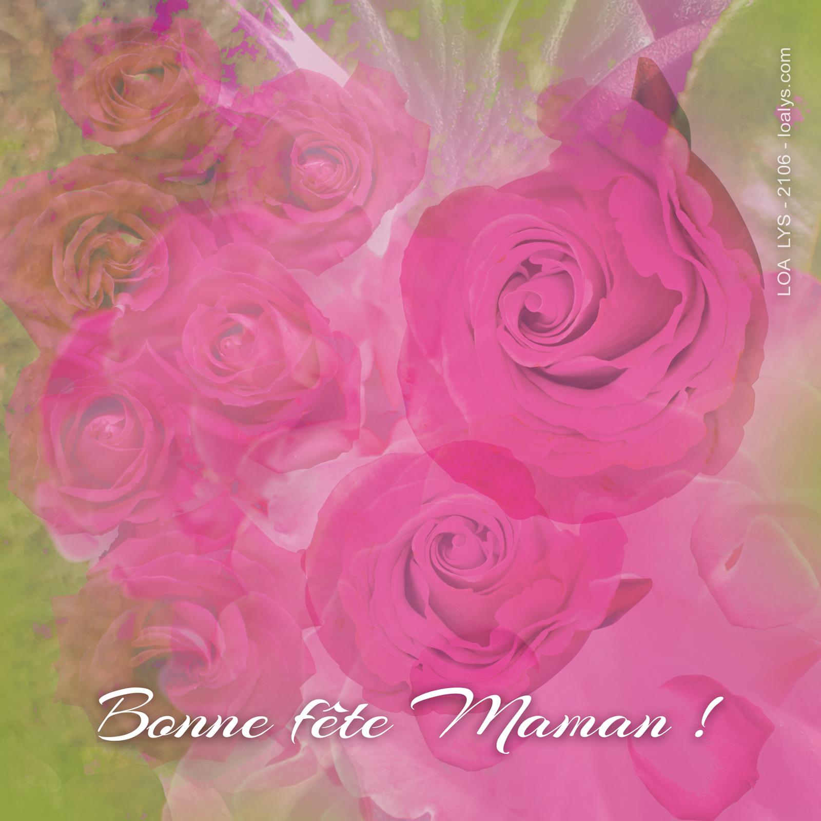 Carte Bonne fête Maman rose