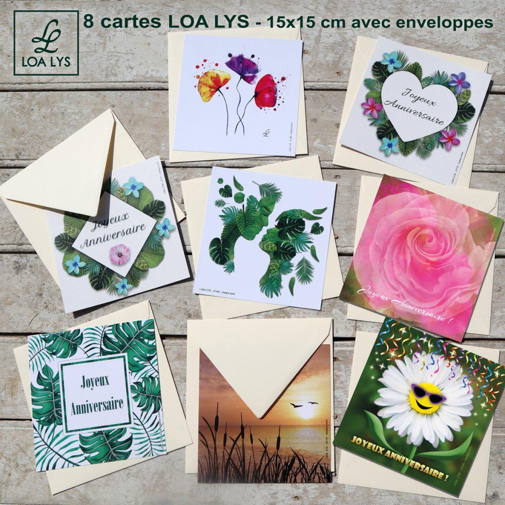lot de 8 cartes carrées LOA LYS