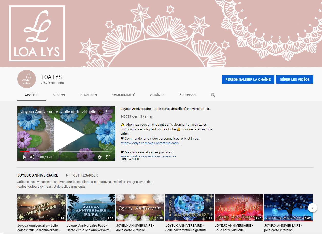 Chaîne YouTube LOA LYS